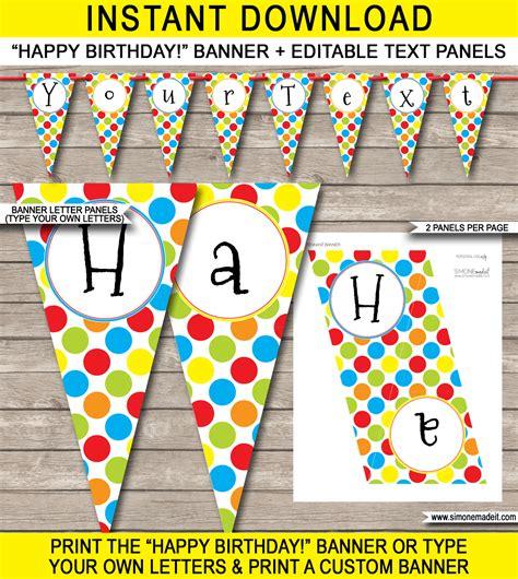 printable classic alphabet banner pennants polkadot birthday party banner template happy birthday