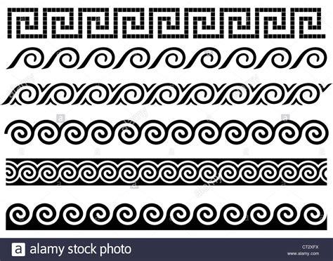 Greek Vase Outline Meander And Wave Ancient Greek Borders Set Of Ornaments