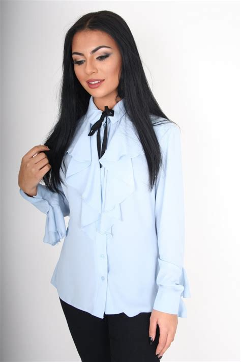 Halter Neck Pussybow Tops From Victorias Secret by Powder Blue Blouse Clothing