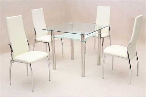 Small Glass Dining Table And 4 Chairs Small Square Clear Glass Dining Table And 4 Chairs Homegenies