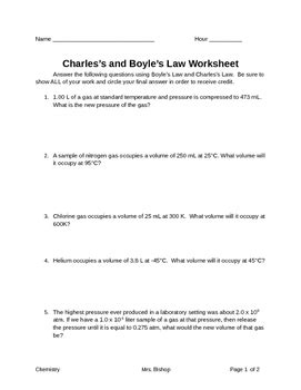 Boyle S And Charles Worksheet Answers