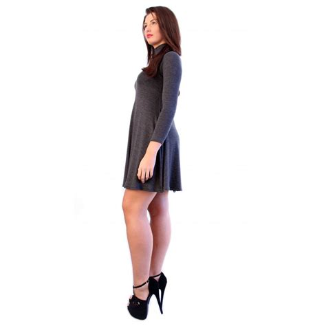 grey swing dress grey turtle neck swing dress from parisia