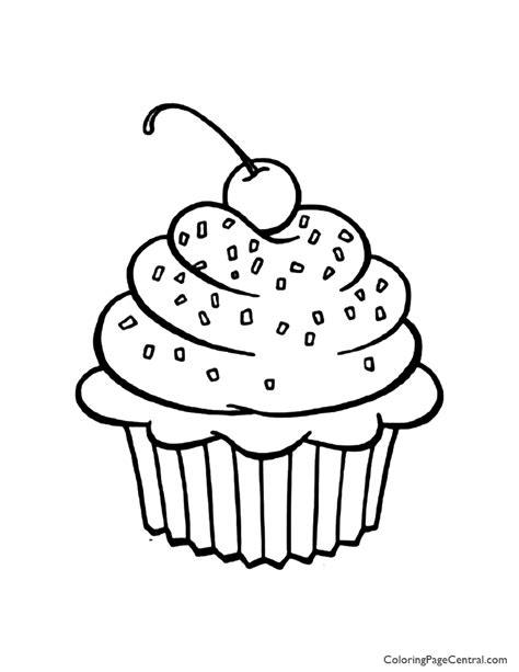 Cupcake 01 Coloring Page Coloring Page Central How To Make A Coloring Page