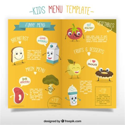 kids menu template with enjoyable foodstuffs vector free