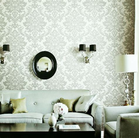 Livingroom Wallpaper White Gray Fleur De Lis Wallpaper Living Room Interior