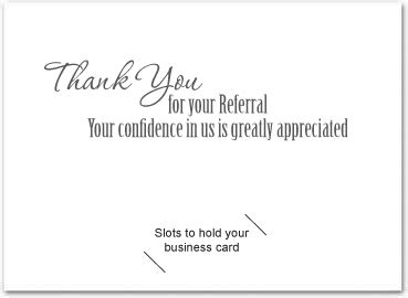 thank you letter business referral thank you card sles thank you referral cards asking