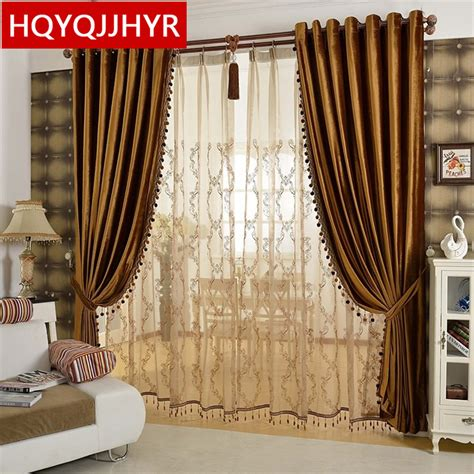 gold living room curtains aliexpress buy european luxury gold coffee velvet blackout curtains for living room window