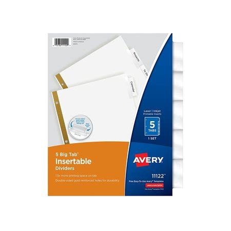 Big Tab Insertable Dividers 5 Clear Tabs 1 Set 11122 Protectors Label Writable Dividers Avery 23281 Template