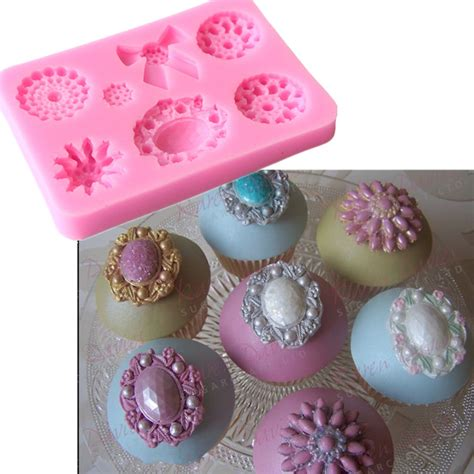 P1154 Brooch Fondant Silicone Mold fondant cake silicone mold box brooch wedding decoration tools cupcake mould