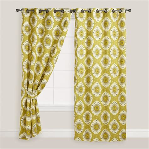 ikat draperies green ikat grommet top curtain world market