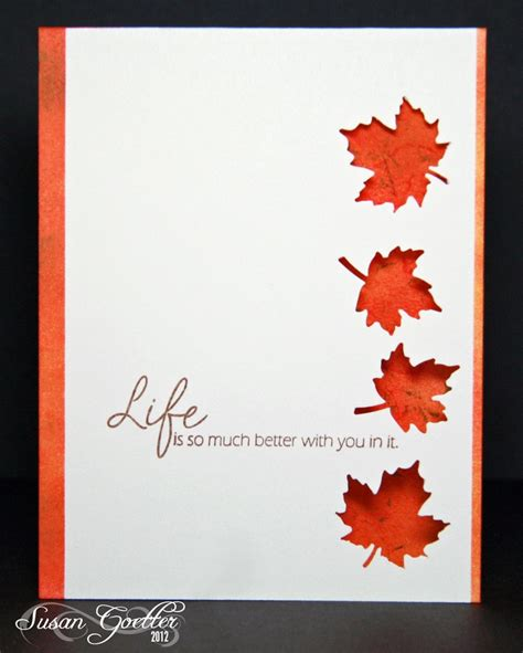 Handmade Fall Cards - autumn fab the leaf cutouts with the color