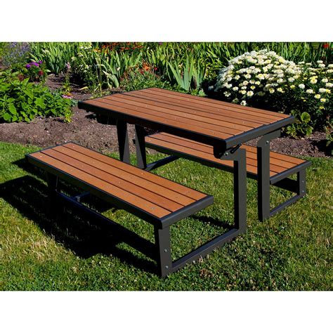 bench converts to table lifetime products wood grain convertible folding picnic