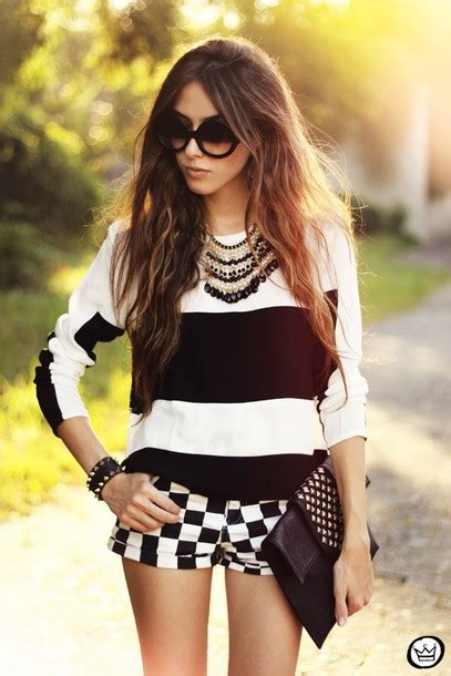 24274 Black Stripe Casual Top blouse black and white black white casual stripes