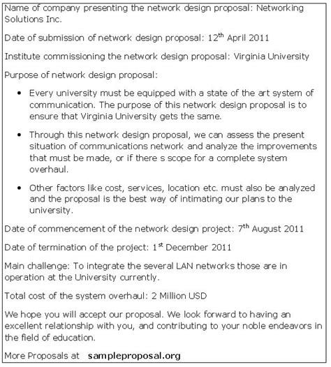best ideas for network design proposal template with example