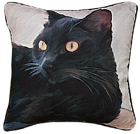 Picture Throw Pillow - decorative pillows black cat throw pillow 18 quot square