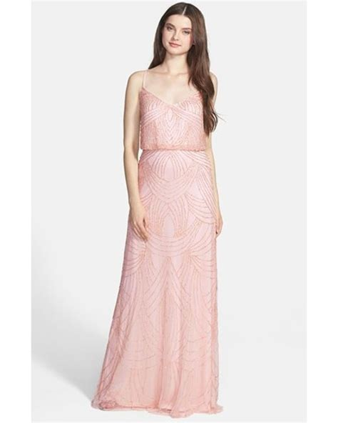 beaded chiffon blouson dress papell beaded chiffon gown in pink lyst