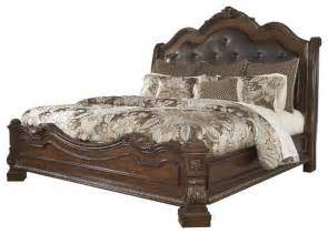 ledelle king sleigh headboard bed with upholstered faux