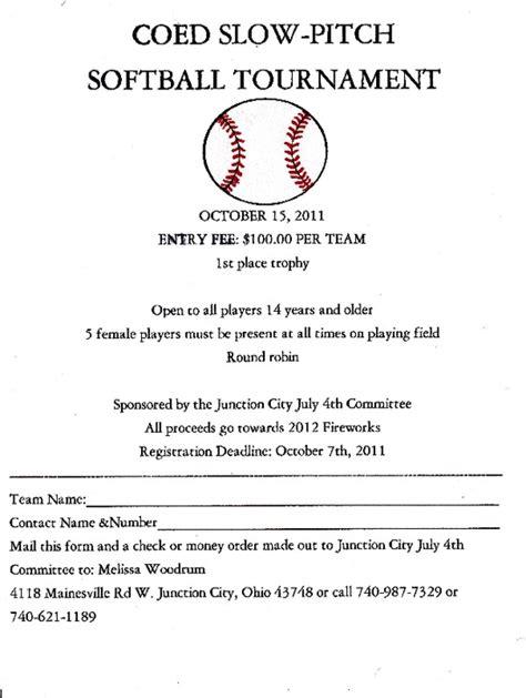 Jennifermcgrath Pdfsr Com Softball Tournament Registration Form Template