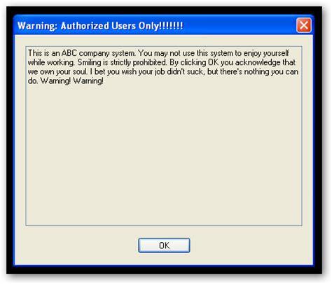jp employee login disable that annoying windows logon warning message