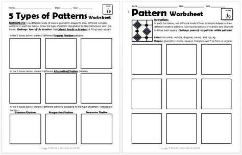 pattern art lesson plan pattern worksheets explore 5 types of patterns create