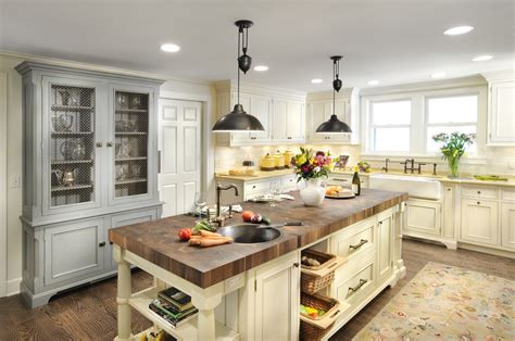bright buffet hutch in kitchen traditional with country blue and yellow decor next to