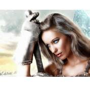 Fantasy Women Woman Warrior Sword Gauntlet Snow