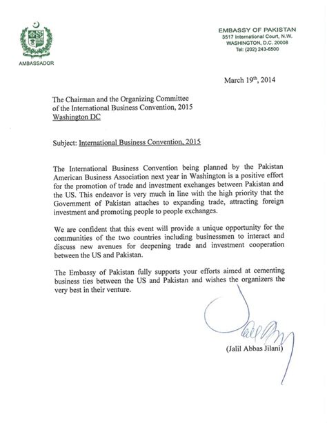 Business Letter Sle Pakistan International Convention Paba Pakistan American