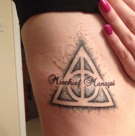 mischief tattoo my harry potter deathly hallows mischief