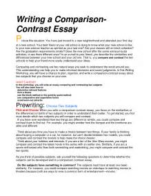 Exle Comparison Contrast Essay by How To Write A Compare And Contrast Essay College