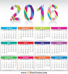 1 year calendar template free colorful calendar 2016 vector template