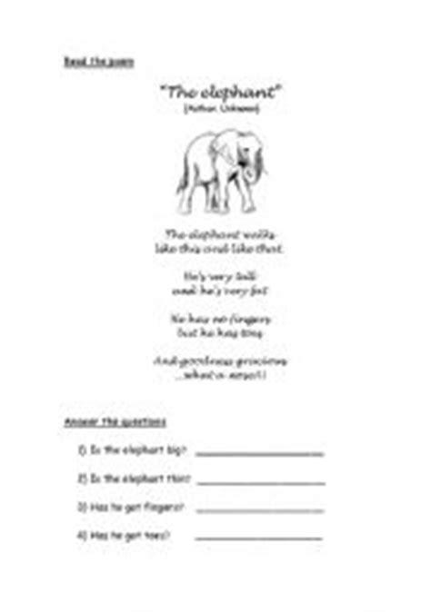 The Elephant Poem Worksheet Answers by Worksheets Poem The Elephant