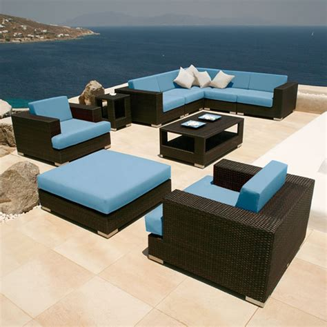 Design Patio Furniture Architecture Stunning Black Wicker Patio Furniture Feat Coffee Table And Blue Mattress And