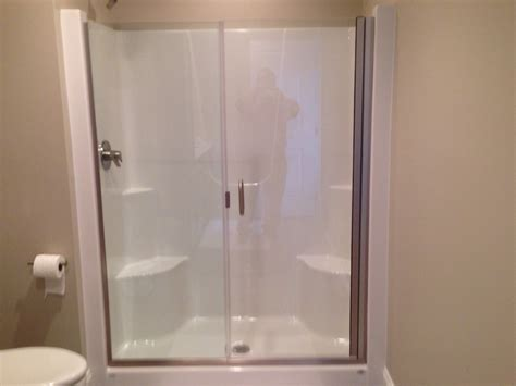 Shower Stall Glass Door Frameless Shower Door And Panel On A Fiberglass Shower Stall Contact Tristateshowerdoors Yahoo