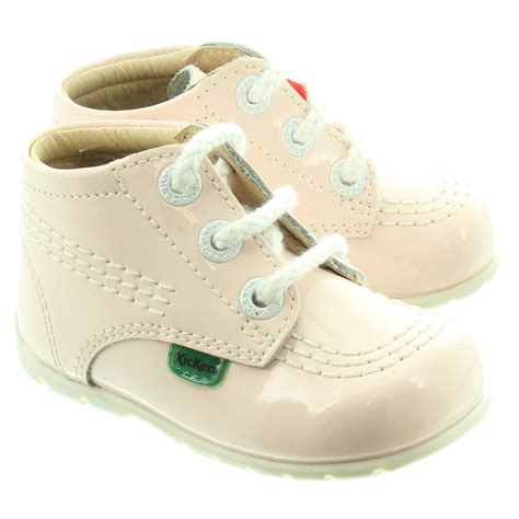 light pink baby shoes kickers leather kick hi baby shoes in light pink in ltpk