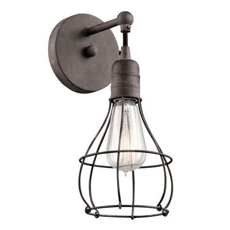 Industrial Wall Sconce Lighting Shop Kichler Industrial Cage 5 5 In W 1 Light Weathered Zinc Directional Wall Sconce At Lowes