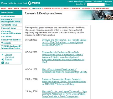 merck licensing press release press releases and news items online usability guidelines