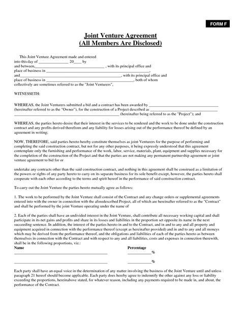 joint venture agreement template best photos of sba joint venture agreement template