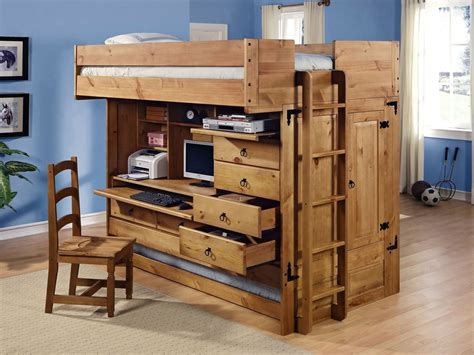 Bunk Beds With Storage And Desk Powell Rustica All In One Loft Bed With Storage And Computer Desk