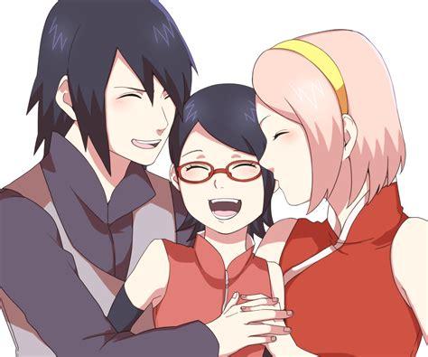 sarada sasuke uchiha and sakura family tags fanart naruto haruno sakura uchiha sasuke pixiv