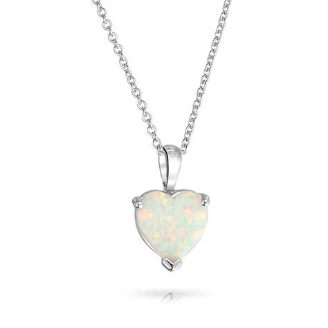 white opal necklace gemstone white opal heart necklace 925 silver pendant 16in