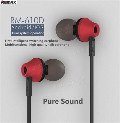 Earphone Remax Mic Rm 610d remax brand rm 610d stereo in ear earphone headphone with