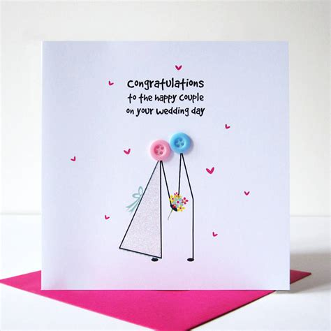 cards on the wedding congratulations button card by mrs l cards