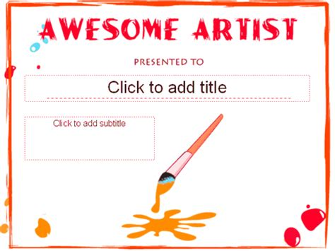 awesome certificate templates awesome artist award certificate free certificate