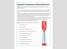 Reading for Comprehension: Following Directions ... Following Directions Activity For Adults
