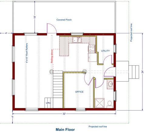 main floor plans log cottage floor plan 24 x32 768 square feet plus loft