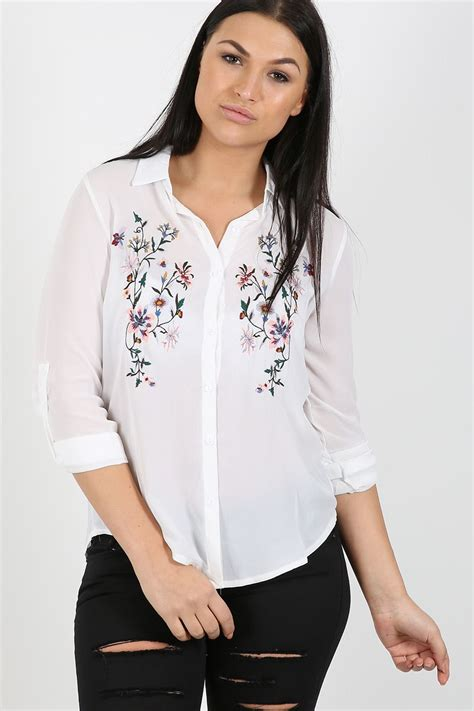 Top Blouse Chiffon womens chiffon blouse floral embroidered top shirt collared dress