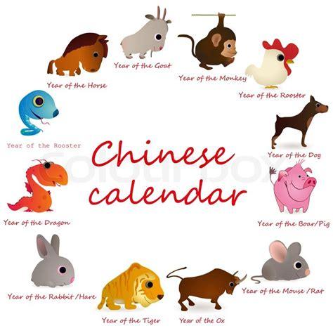 Calendario Chino 2012 Animal Calendar With 12 Animals Stock Vector Colourbox