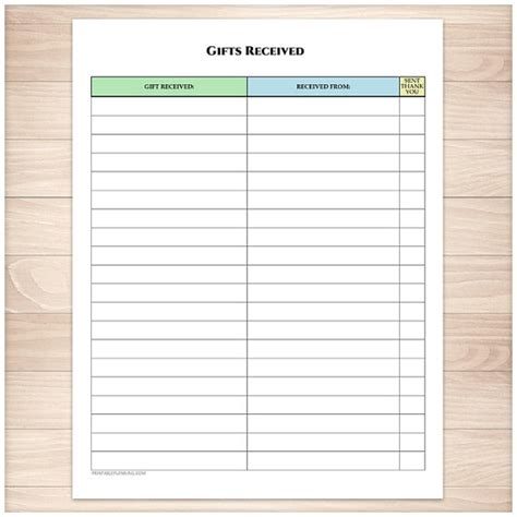 buying gifts tracker sheet printable gifts received list occasion birthday