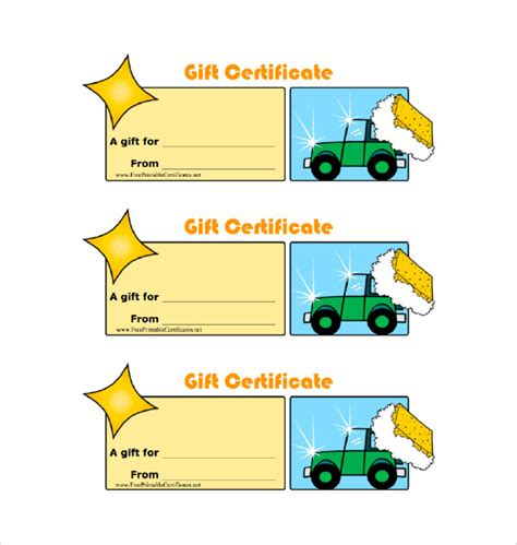 car wash gift card template 8 gift certificate templates doc pdf free