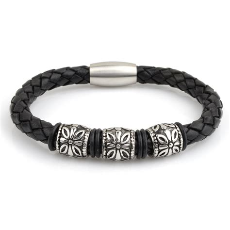 Braided Genuine Leather Bracelet mens braided leather bracelet flower charmrichbud handmade